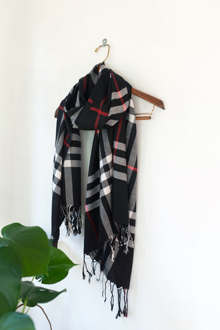 Black/Red Checkered Pashmina