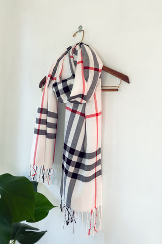 White/Black Checkered Pashmina