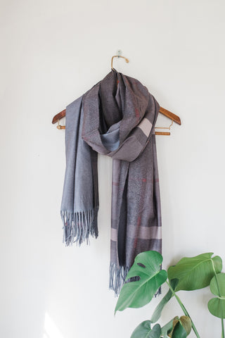 Grey and Tan Cashmere Scarf