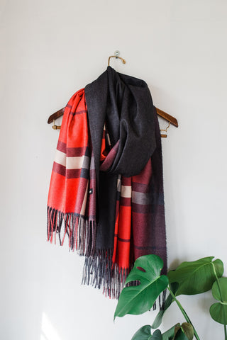 Red and Tan Cashmere Scarf