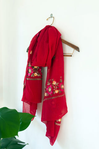 Red Blossom Scarf