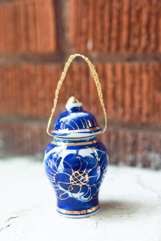 Tall Oriental Blue Ornament
