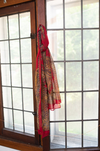 Red and Tan Patterned Scarf