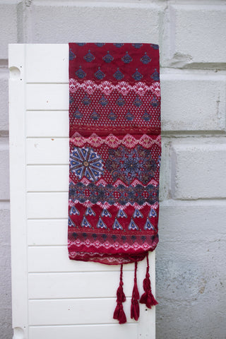 Red with Blue Patterned Scarf