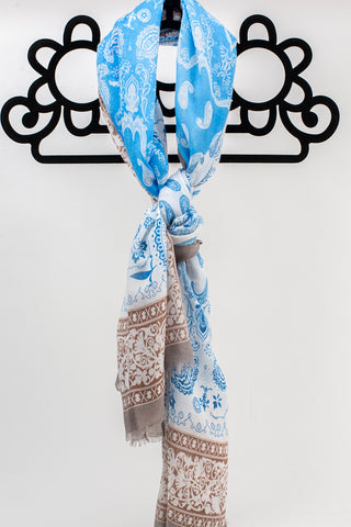 Taupe Paisley Border Scarf