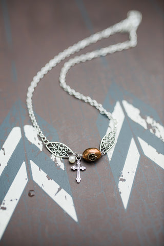 Copper Filigree Cross Necklace