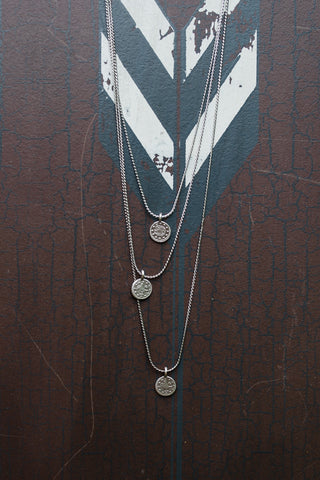Tri Coin Rhodium Necklace