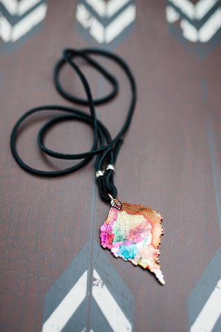 Painted Leaf Necklace