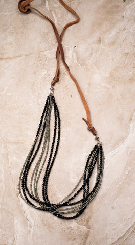 Black Beaded Leather Necklace