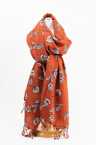 Rust Floral Scarf