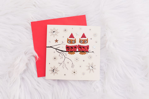 White Festive Owls Card