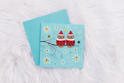 Blue Festive Owls Card