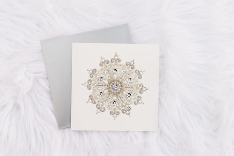 Silver Lace Snowflake Card