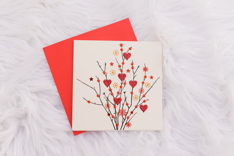 White Heart Twigs Card
