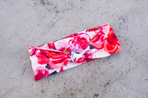 Rose Floral Baby Knot Headband
