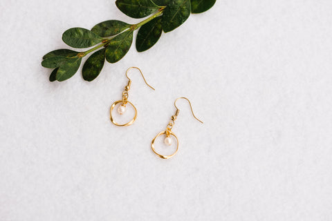 Petite Halo & Pearl Earrings