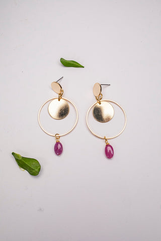 Ruby Drop Circle Earrings