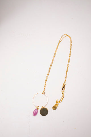 Ruby Drop Circle Necklace