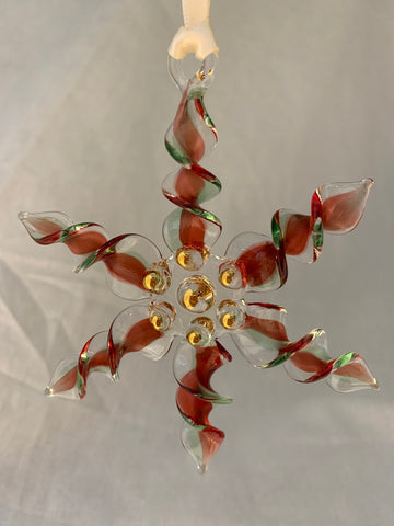 Red/Green Twisted Glass Snowflake Ornament
