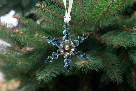Blue/Green Twisted Glass Snowflake