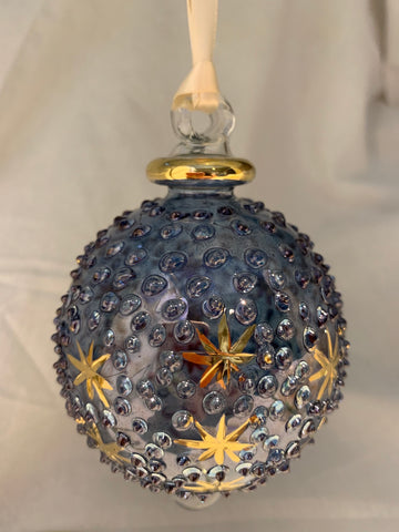 Blue Raised Dot Ball Ornament