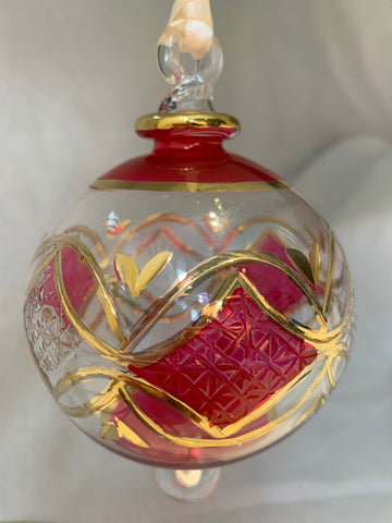 Red Domed Triangle Pattern Glass Ornament