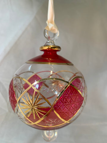 Red Domed Star Pattern Glass Ornament