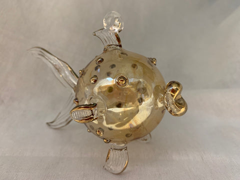 Amber Pufferfish Ornament