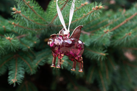 Red Flying Pig  Ornament