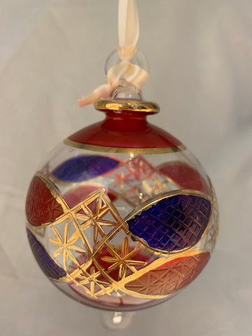 Red/Blue Starred Ball Ornament