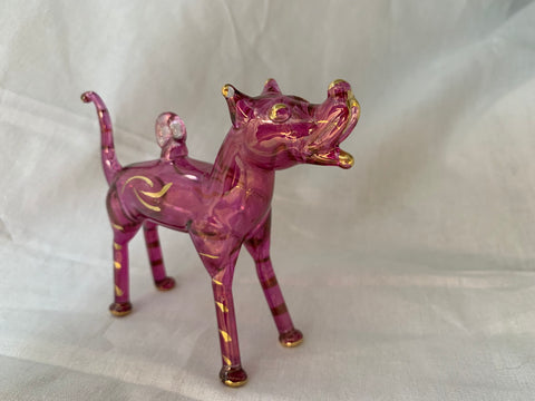Standing Dog Ears Standing Purple Ornament