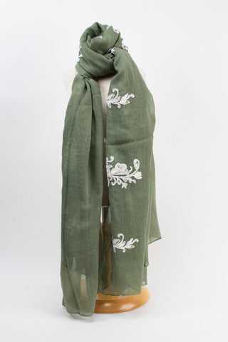 Green\White Flower Embroidered Scarf