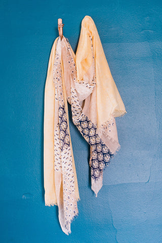 Mandy Scarf - Navy & Yellow
