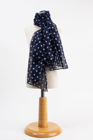 Navy Silk Polka dot Scarf