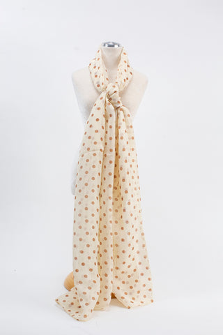 Cream Silk Polka dot Scarf