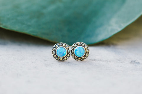 Sterling Silver & Blue Opal Earrings