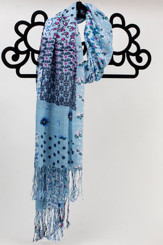 Light Blue Flower Print Scarf