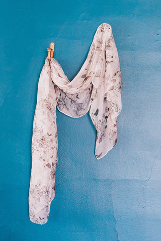 Grey Flower Print Scarf