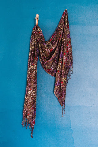 Brown Flower Print Scarf