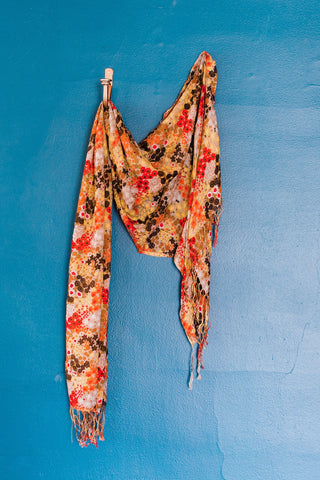 Orange Flower Print Scarf
