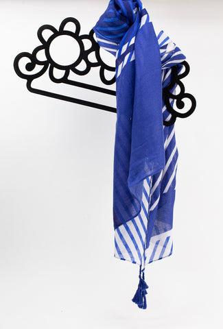 White Stripe & Blue Scarf
