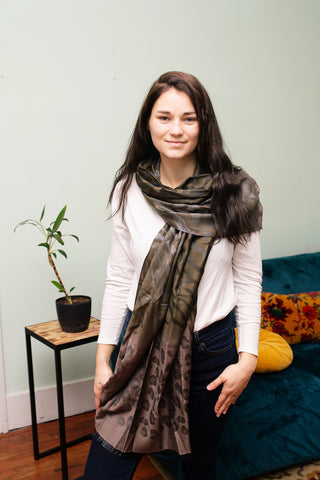 Grey Animal Print Scarf