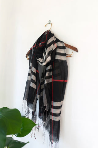 Black White Silk Plaid Scarf
