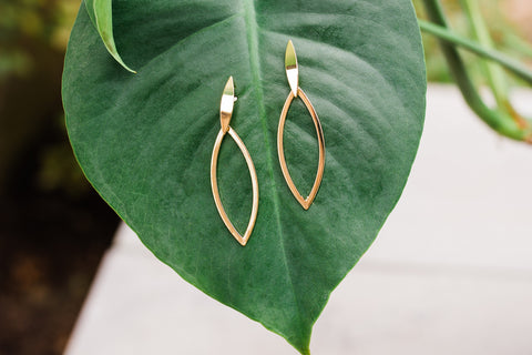 Gold Oval Leaf Shape Earrings