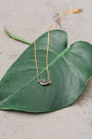 Black Leaf Gold Plated Necklace