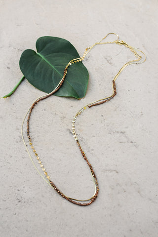 Gold and Bronze Mix Layered Necklace