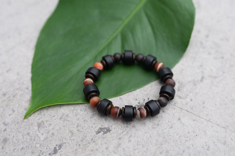 Black Stone Clay and Mannoy Bracelet