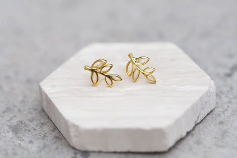Sterling Silver Yellow Leaf Earrings