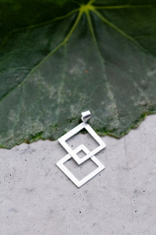 Sterling Silver Double Square Pendant