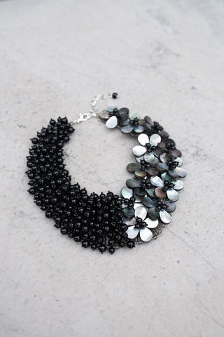 Abalone and Black Agate Bead Necklace